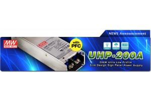 Компания Mean Well анонсировала выпуск новой серии ультранизких миниатюрных преобразователей с ККМ сери UHP-200A мощностью 200Вт для светодиодных табло