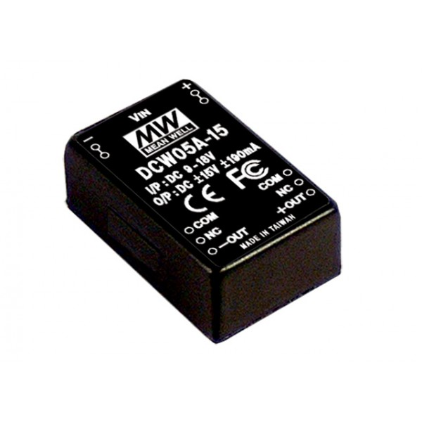 DCW05A-15-3K Mean Well Блок питания 5.7 Вт, 15 В, 0.19 А На плату