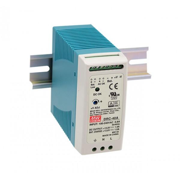 DRC-40A Mean Well Блок питания Mean Well Блок питания 40.02 Вт, 13.8 В/2.9 А, 13.8 В/ 1 А С функцией UPS