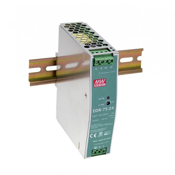 EDR-75-12 Mean Well Блок питания 75.6 Вт, 12 В, 6.3 А На DIN-рейку